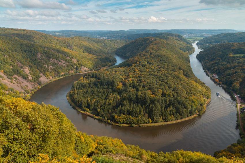 Saarschleife Autumn Flowing Green Reflection Saar Saarschleife Beauty In Nature Day Europe Forest Germany Landscape Mountain Nature Outdoors River Saarland Scenics Water
