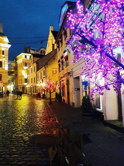 Old Town Architecture Sky Architecture Night City Illuminated Outdoors Old City Latvia Light Light And Shadow Reflection Beautiful Building Riga