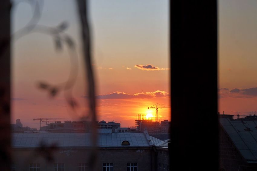 Sunset Sky Orange Color City Architecture Built Structure Building Exterior No People Nature Cityscape Day EyeEmNewHere Light Pink Color Yerevan Armenia Window Window View From My Window Spring EyeEmNewHere Millennial Pink Shushannaagapi Shushannaagapiphoto