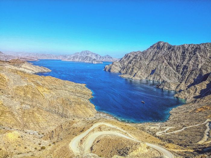 Sea Oman Khasab Fjord Landscape Clear Sky Beauty In Nature No People Water Day Sky Go Higher