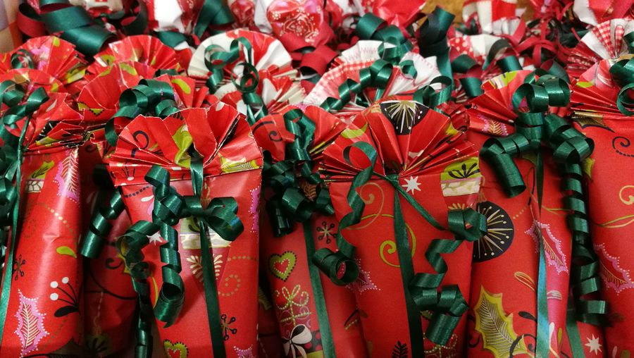 Close-up of red gifts
