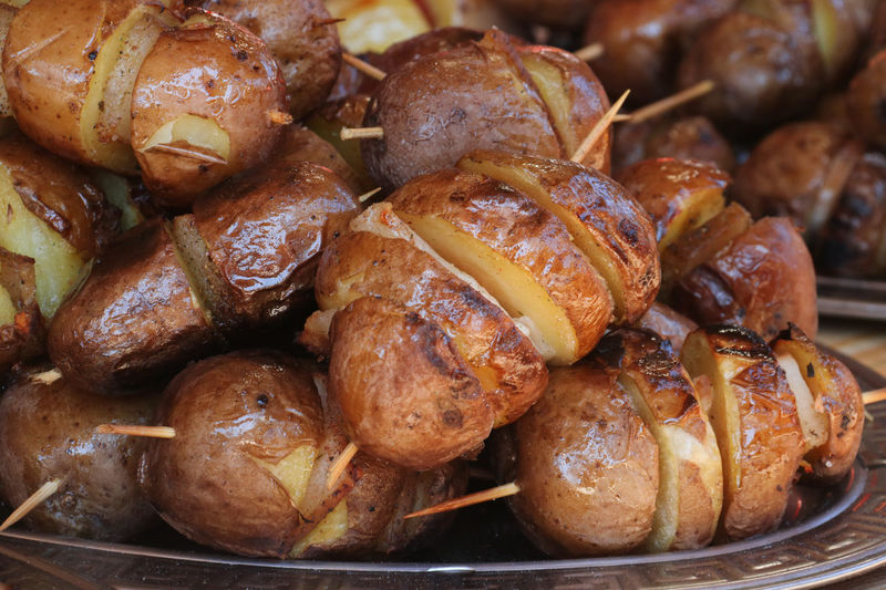 Close-up of baked potatoes