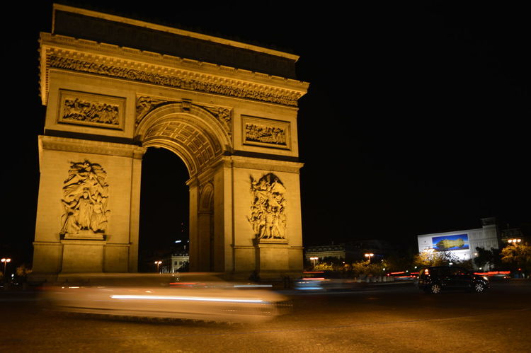 Paris Arc De Triomphe Charles De Gaulle Night Playing with the shutter in Paris