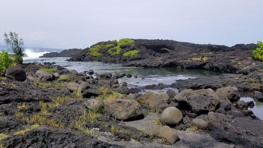 Black Sand Hawaii Rock - Object Water Water Sea Beauty In Nature Beach Wave Black Sand Beach In Hilo, Hawaii