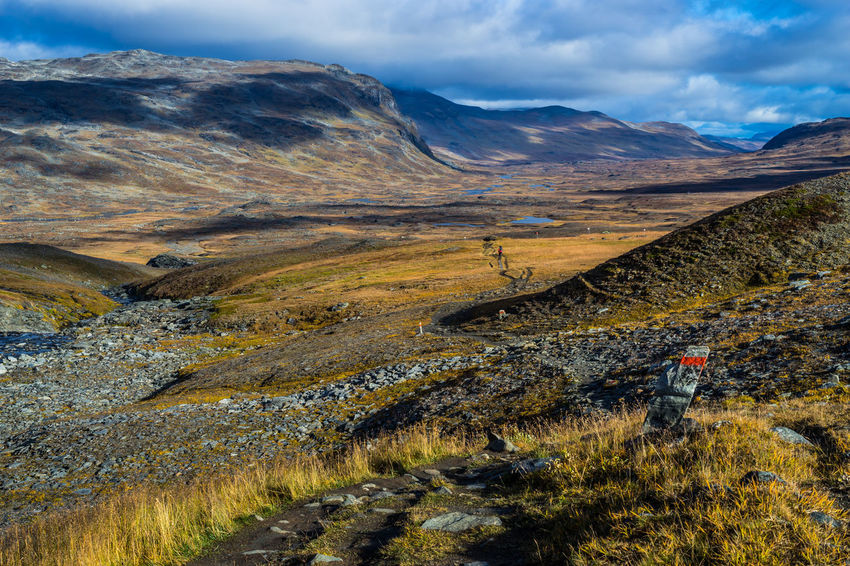 September hiking along The King's Trail in northern Sweden 2016 Alesjaure  Alesvagge Autumn Day Dramatic Landscape Hiker Hiking Kungsleden Landscape Mountain Mountain Road Nature Non-urban Scene Northern Europe Outdoors Remote Scandinavia September Sweden The Kings Trail Tourism Tranquility Travel Destinations Valley