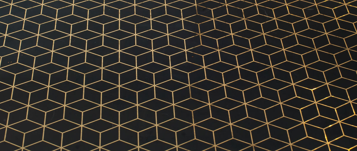 gold pattern in black background Pattern Backgrounds Full Frame No People Grid Grate Design Metal Shape Hexagon Metal Grate Architecture Repetition Illuminated Built Structure Geometric Shape Close-up Outdoors Sunlight Lighting Equipment
