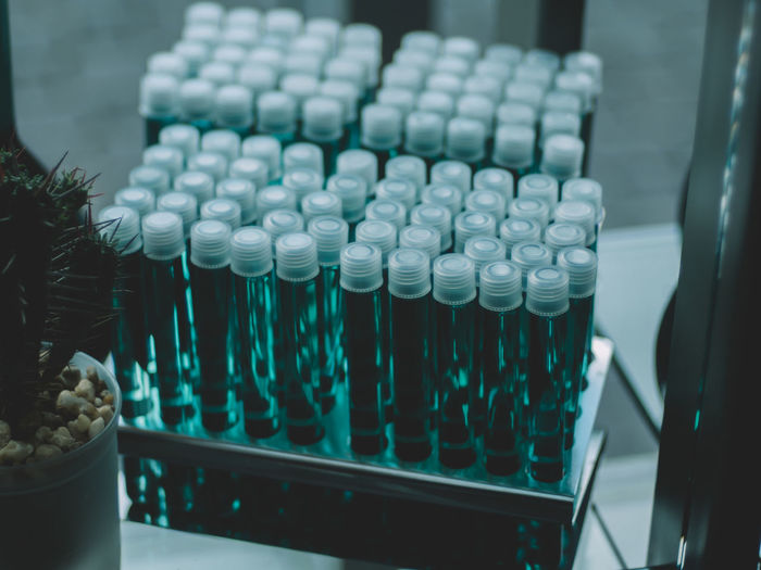 High Angle View Of Test Tubes In Row