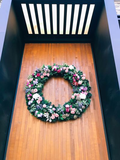 High angle view of flower pot on table