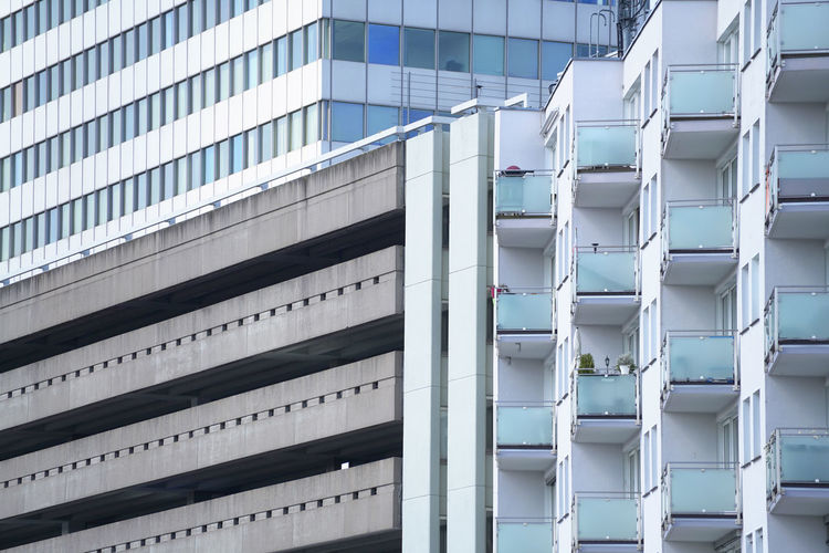 Abstract architecture Photo - extract from three Buildings Architecture Building Exterior Built Structure Building Low Angle View No People Day Pattern Outdoors Full Frame Modern City Office Building Exterior Side By Side Business Office Window Nature White Color Repetition Clean