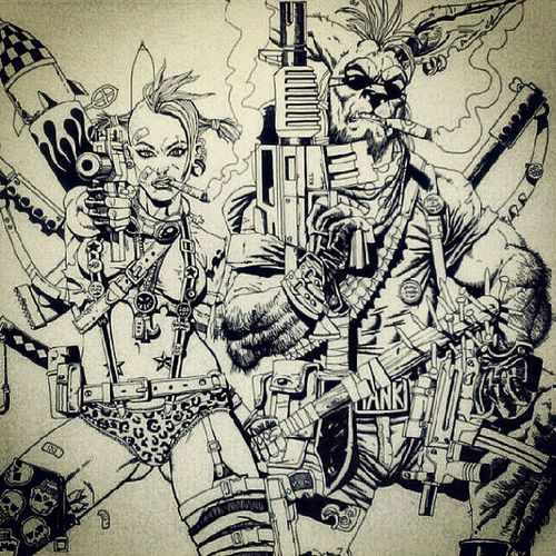 Tankgirl Booga Comics Art artwork artexercise sketch ink marker drawing igart kangaroo guns explosions lovers