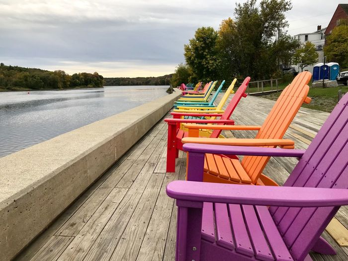 Absence Chair Table Tree Empty No People Wood - Material Water Lake Relaxation Day Seat Nature Outdoors Sky Beauty In Nature Second Acts