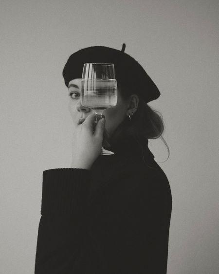 Portrait of camera against black background