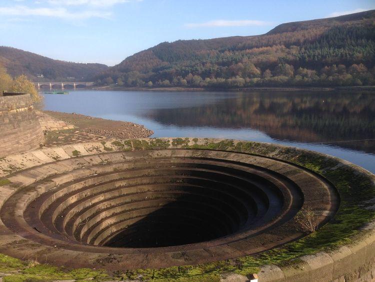 Lady Bower dam Derbyshire England water Calm