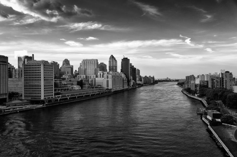 Views of the East River, NYC from the Roosevelt Island Tramway. East River Manhattan NY NYC New York City Roosevelt Island Travel USA Architecture Black And White Blackandwhite City City Scape Day No People River Skyscraper Tramway View Travel Destinations Urban Urban Skyline Water