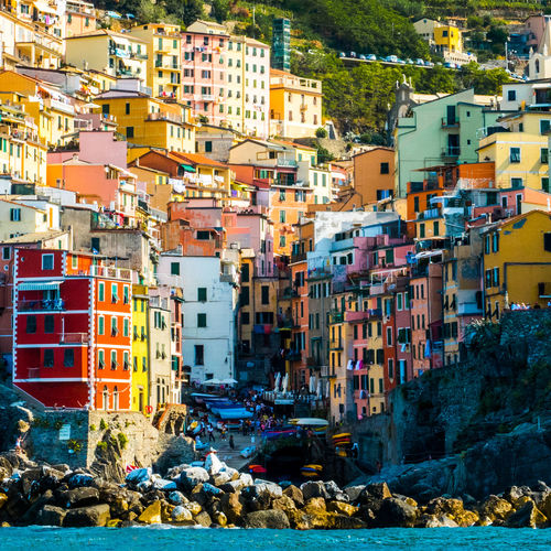 Cinque Terre Liguria,Italy Mediterranean  Architecture Building Exterior Built Structure Cinque Terre Liguria Cinqueterre City Day Go-west-photography.com Italy Liguria Multi Colored Multicolored Multicolors  No People Outdoors Residential Building Riomaggiore Rock - Object Sky