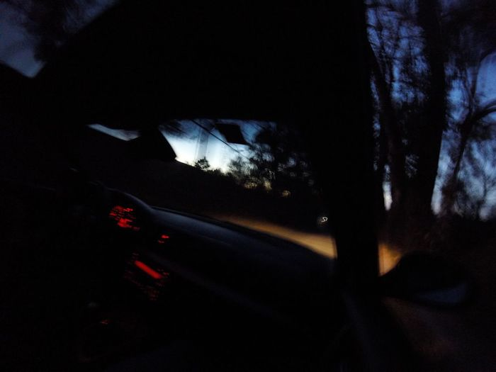 Car Vehicle Interior Transportation Car Interior Windshield Land Vehicle Mode Of Transport Car Point Of View Silhouette Night No People Nature Sunset Illuminated Sky Tree Close-up Outdoors