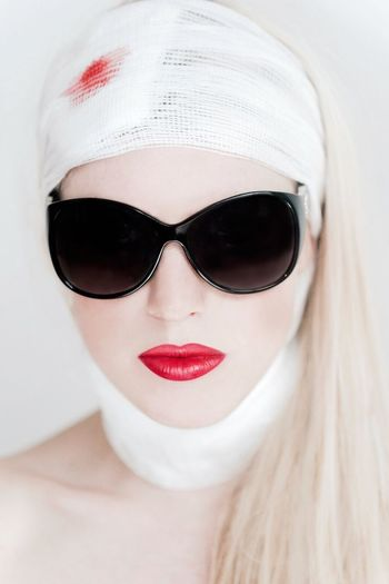 Girl Blonde Bandages Sunglasses Paparazi Face Lift Surgery Scars Surgery Cosmetic Work Botox Filler Anti Ageing