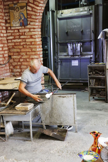 Art Art And Craft ArtWork Glass Glass Art Glass Blowing Glass Factory Italy Man At Work Souvenir Venice