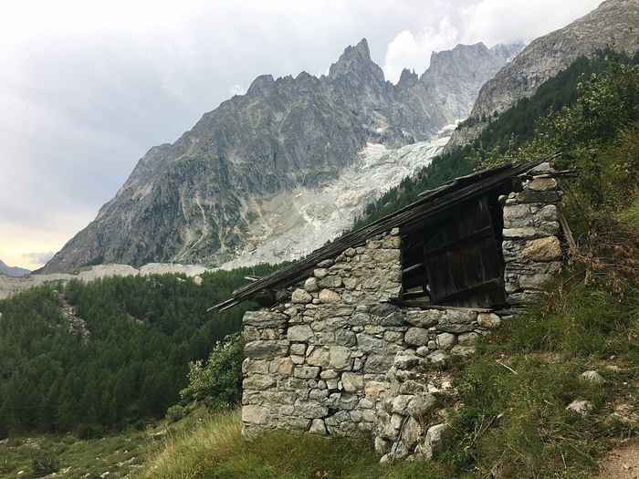 Old Chalet Old Cabin Chalet Valledaosta Italy Landscape Mountain Cabin Cabin Alps Italy Alps Montblanc Montebianco Auguille De Peuterey Mountain Plant Sky Tree Nature Architecture No People Built Structure Mountain Range Tranquility