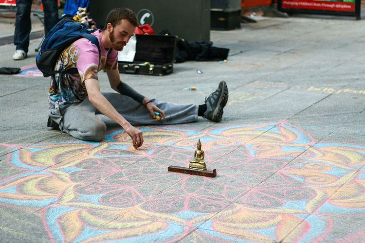 Street Photography Chalk Drawing Art Drawing