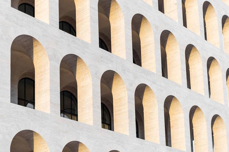 Arch windows of palazzo della civilta italiana