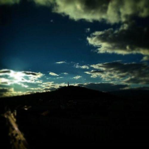 Sunshine Clouds Blue Winter Budapest Ilovebudapest Cloudporn Colorful Sky Siluet Silhouette Highway Gellerthill Gellerthegy Statue Libertystatue  Libertybridge Liberty Landscape Cityscape Urban Urbanscape