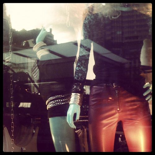 Mannequins in a store window wearing red leather pants and black sweater. Rock and roll New York City fashion, 5th Avenue, Manhattan. 5th Avenue 5th Avenue, NYC Fashion Fifth Avenue Fifth Avenue NYC Grunge Leather Pants Leisure Activity Manequins Manhattan New York City New York City Life New York Fashion Week New York Street Photography NYC Reflections Rock And Roll Standing Window Shopping