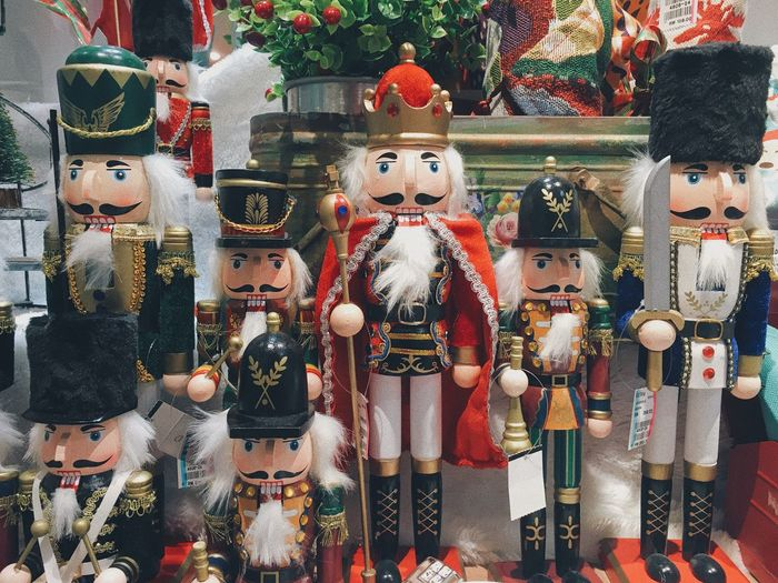 Close-up of nutcrackers for sale at store