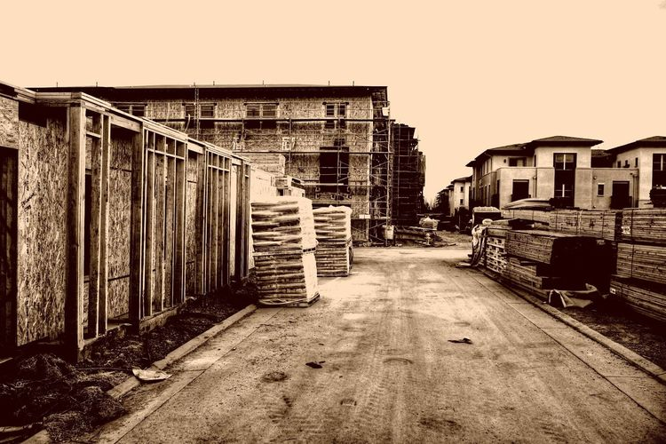 Building Site Construction Site Monochrome Sepia Timber Frame Wooden House