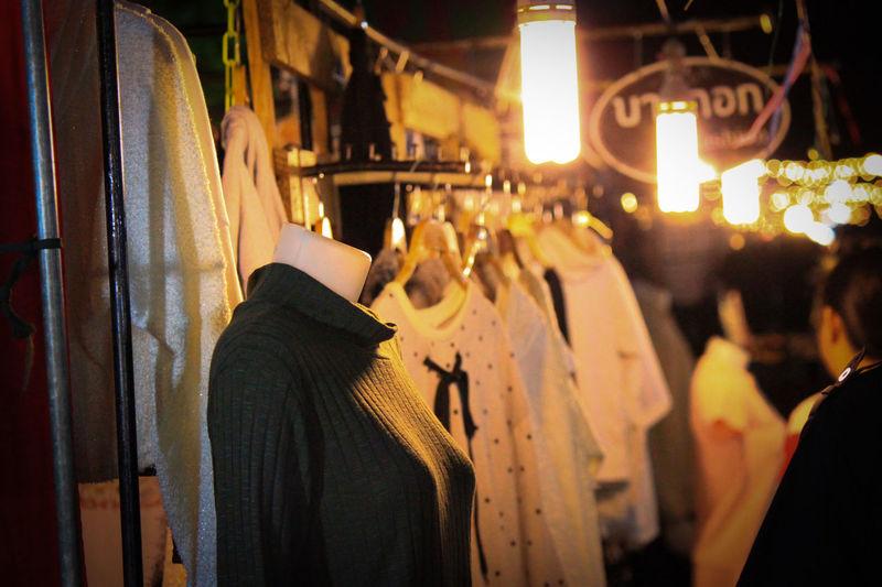 Walking Street Sisaket,thailand Night Store People Retail  Clothing Store