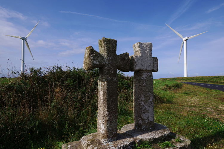 old prototypes ? Mimetism Alternative Energy No People Old Crosses Rural Scene Sky Wind Power Wind Turbine