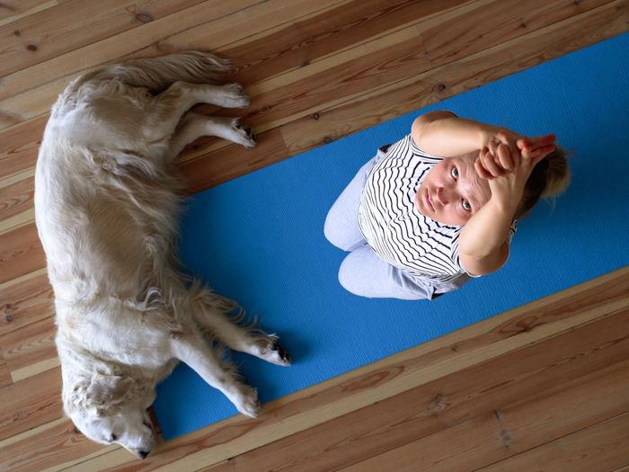 Full length of boy lying on floor