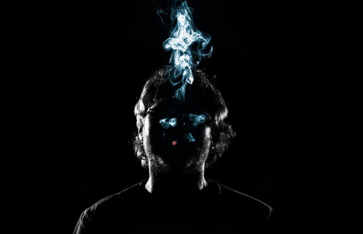 Art Black Background Cigarette  Flashlight Front View Headshot Man Mood Portrait Psyched Psychedelic Smoke Smoking Studio Studio Shot