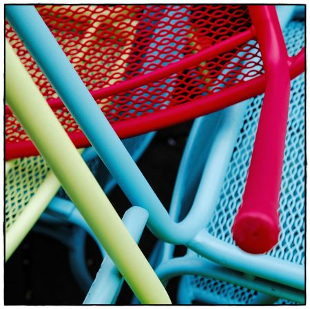 Stühle Green Square Abstract Blue Close-up Colorful Day Lawoe Minimal No People Outdoors Red