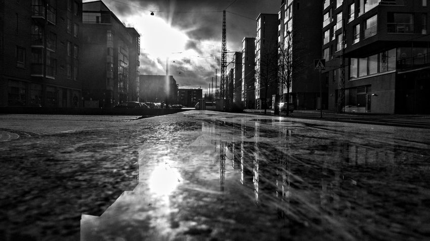 Low, directional Nordic Light. Helsinki Landscape Light And Shadow Monochrome Outdoors Reflections Street Photography Urban Landscape