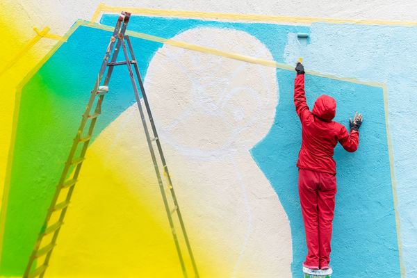 Color Gradient Gradient Rear View One Person Colors Colours Graffiti Art Full Length Multi Colored Spraying Standing Red Yellow Street Art Vandalism Mural Paint Roller Paint Can Step Ladder Graffiti Hood - Clothing This Is Strength