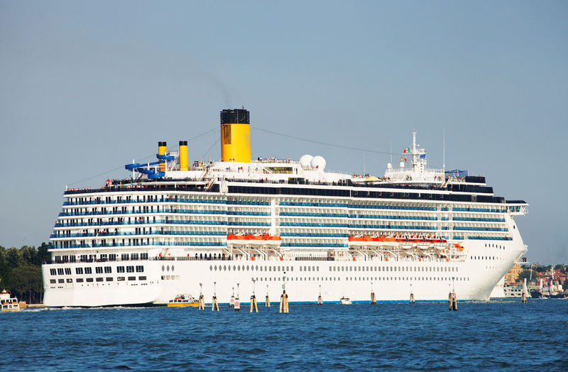 Cruise ship sailing in grand canal against clear sky