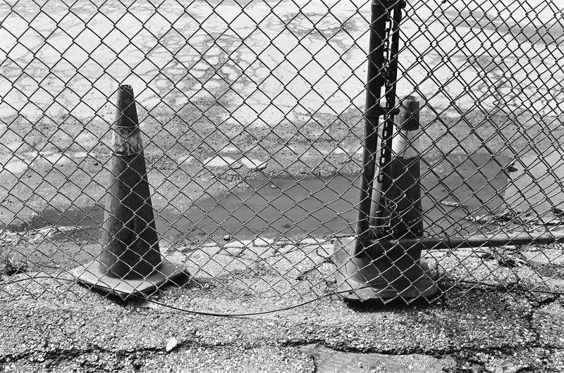 Metal fence on field