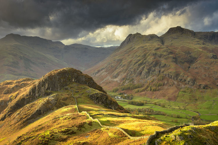 Scenic view of langdale pikes from lingmoor fell against sky