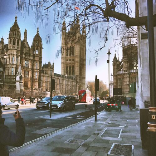 The root of all Democracy on a sunny day. Westminster Parliament Union Jack Red Bus London Democracy Westminter Big Ben London United Kingdom U.K.