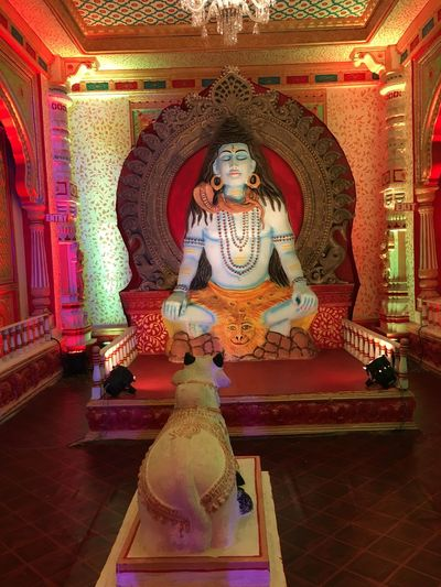 Red Cultures Gold Colored Indoors  Religion No People Statue Day Huge Statue Huge Model Long Hair Cow Bull Animal Colourfull God Biggest God No People Big Chair King Chair Blue Man Less Cloth Men Tiger Skin Sitting Ideal Idol EyeEmNewHere
