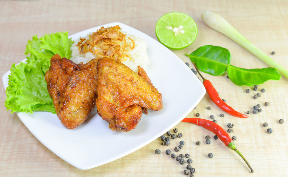 fried chicken with sticky rice on wooden background. Background Chicken Chili  Cooking Cuisine Dinner Dish Food Fresh Fried Lunch Meal Plate Rice Roasted Spicy Table Vegetable Wood