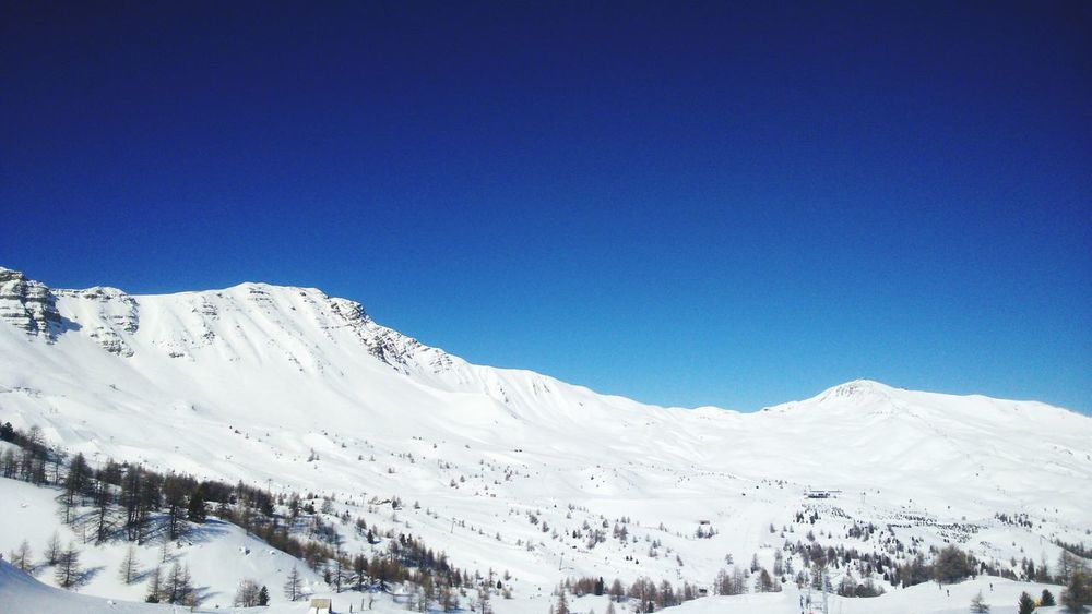 Vars Moutains Snow Moutain Top Blue Sky Holidays