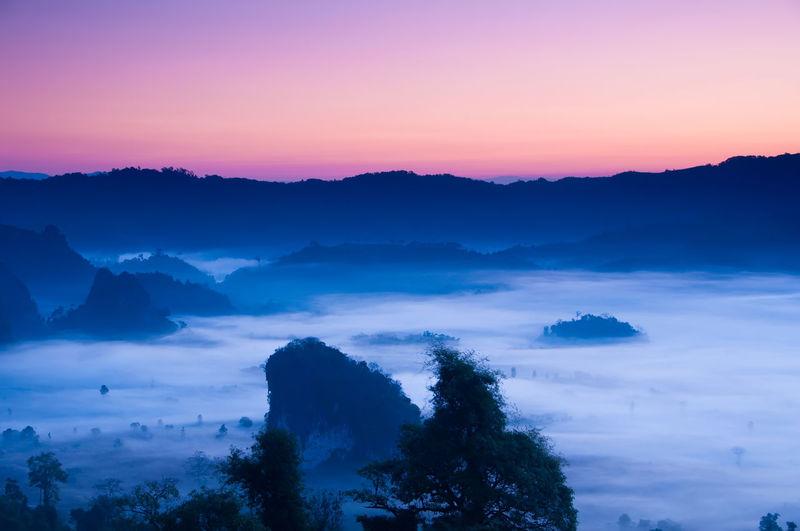 Mist in sunshine on mountains