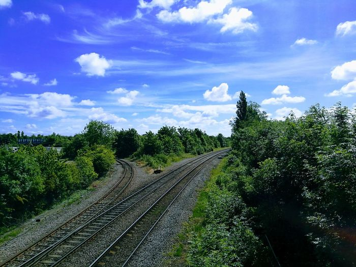 Cloud - Sky Nature Railway Railroad Track Landscape Scenics Railway Fork Summer Views Sky And Clouds Blue Sky