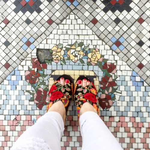 It's all in the details Fashion Stories Mosaic Tiles Embroidery Lifestyles Ootd Personal Perspective Shoe Shoes Of The Day Shoeselfie Standing Style Style And Fashion