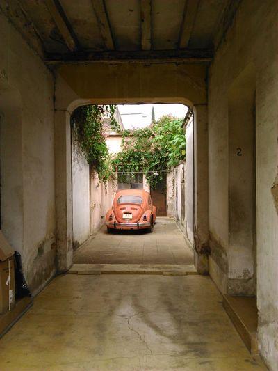 Car in corridor of building