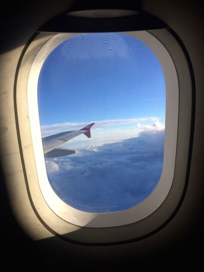 Blue Skies Airplane Window Transportation Air Vehicle Vehicle Interior Travel Sky Flying Journey Mode Of Transport Cloud - Sky No People Day Mid-air Sunlight Blue Commercial Airplane Indoors  Airplane Wing Aerial View Let's Go. Together. Your Ticket To Europe