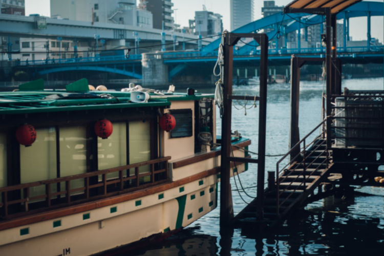 Japan Japan Lovers Japanese Culture Sumida River TOKYO TOKYO Old Meets New Tokyo Unknown Japan Architecture Asakusa Boat Building Exterior Built Structure City Close-up Day Enjoying Life Nautical Vessel No People Outdoors Railing River Transportation Travel Destinations Water The Architect - 2018 EyeEm Awards