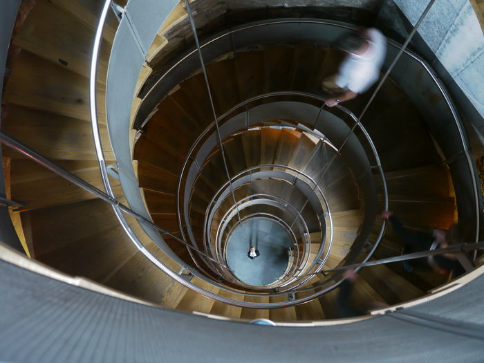Architecture Built Structure Corkscrew Stairs High Angle View One Person Spiral Spiral Stairs Spiral Stairs Staircase Stairs Steps Steps And Staircases The Architect - 2017 EyeEm Awards